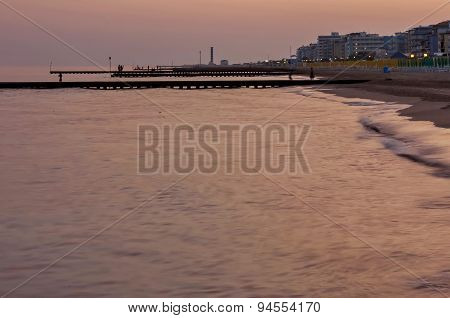 Sunset picture of Lido di Jesolo beach, Adriatic sea, venetian Riviera