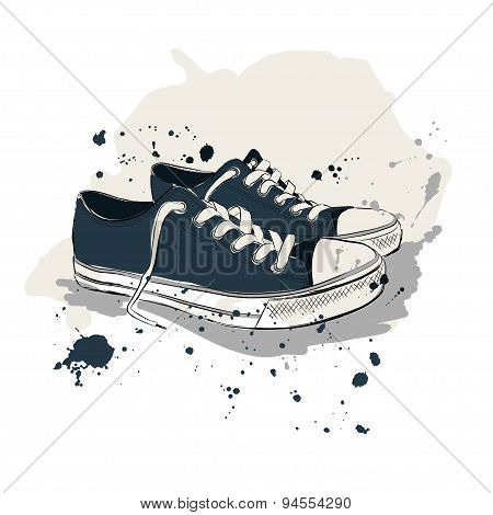 Drawing Vector Illustration With Sneakers