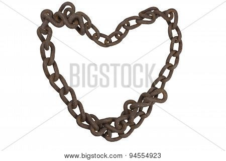 Heart of rusty chain. Old rusty iron chain folded into the shape of a heart.