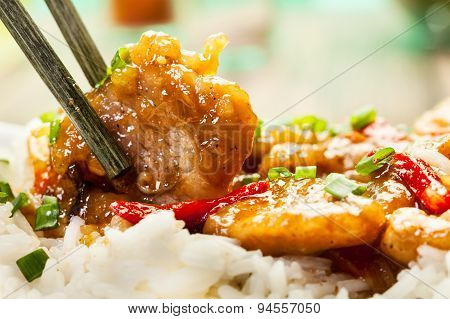 Sirloins On Sweet And Sour Sauce Served With Rice