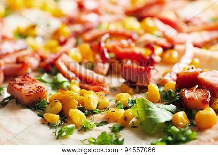 Fried Meat With Corn On Pita Bread.