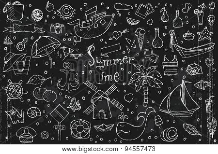Large Set Of Hand Drawn Doodles Summer, Elements And Objects