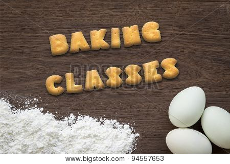 Letter Biscuits Word Baking Classes  On Kitchen Table Background