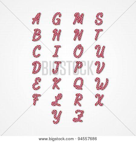 Candy Cane Alphabet.