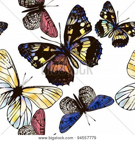 Vector Seamless Pattern With Butterflies For Design