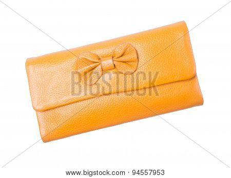 Wallet Or Purse Woman (yellow Colour) On A Background.