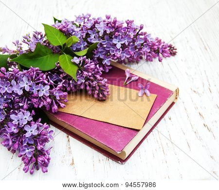 Lilac Flowers And Old Book