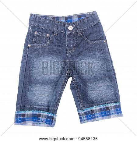 Jeans Or Jeans Shorts Isolated On White Background.