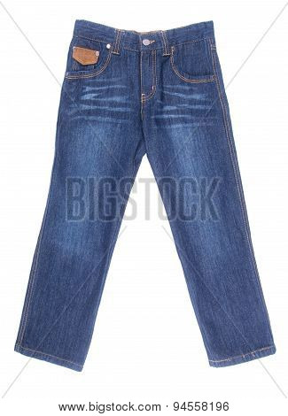 Jeans For Kids Or Blue Color Jeans On A Background.