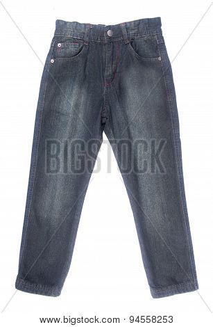 Jeans For Kids Or Black Color Jeans On A Background.