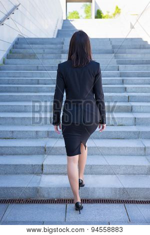 Career Concept - Back View Of Business Woman On Stairs