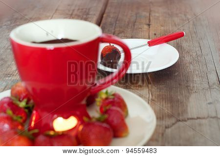 Chocolate Fondue With Strawberries.shallow Depth Of Field.