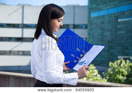 Beautiful Business Woman Holding Folder With Business Plan