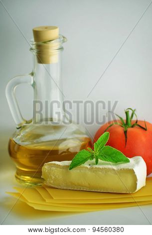 Cheese With Spice On White Background