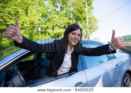 Driver License Concept - Happy Woman With Car