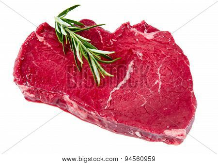 British Beef Steak , Rosemary. Ready To Cook.  Isolated On White Background