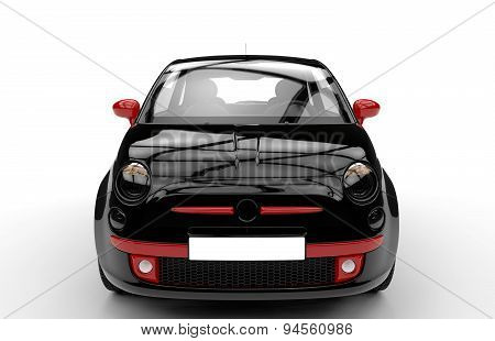 Front Of A Generic Black And Red City Car