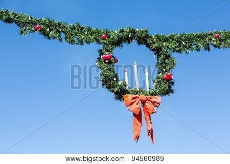 Christmas Wreath And Garland With Candles