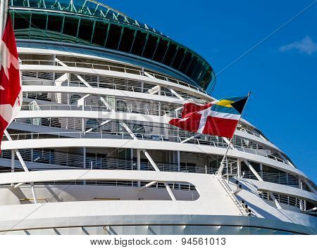 Front Decks Of Cruise Ship With Flags