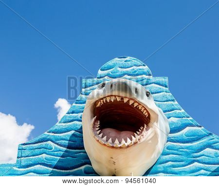 White Shark On Blue Wall