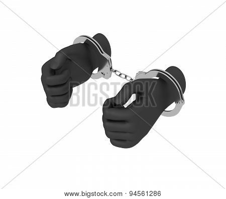 Black Hands In Steel Handcuffs. 3D Render. White Background.