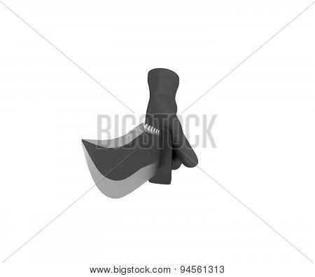 Hand In A Black Glove Holding A Knife. 3D Render. White Background.