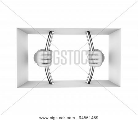 Hands In White Gloves Decompress The Prison Bars. 3D Render. White Background.