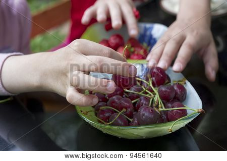 Children Eating Cherry