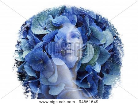 Double Exposure Portrait Afrian Woman With A Flowers. Beauty Concept
