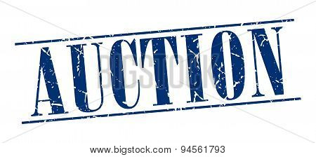 Auction Blue Grunge Vintage Stamp Isolated On White Background