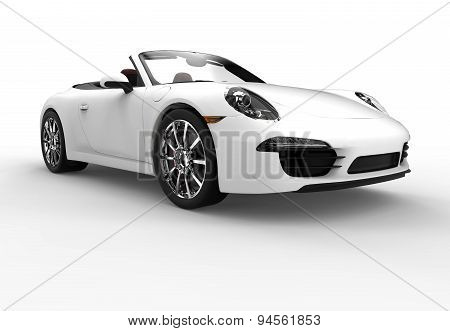 Front Of A Generic White Sport Car
