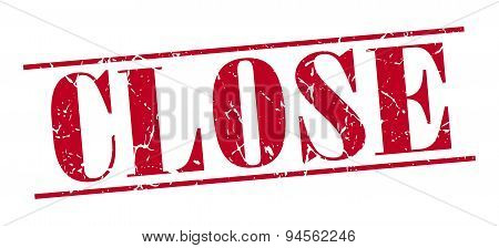 Close Red Grunge Vintage Stamp Isolated On White Background