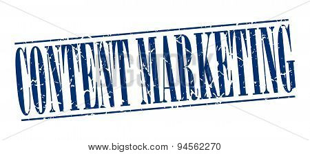 Content Marketing Blue Grunge Vintage Stamp Isolated On White Background