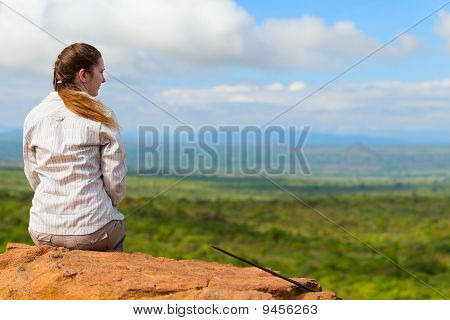 Woman Enjoying Savanna Views