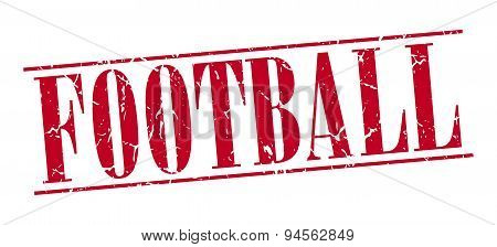 Football Red Grunge Vintage Stamp Isolated On White Background