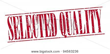 Selected Quality Red Grunge Vintage Stamp Isolated On White Background