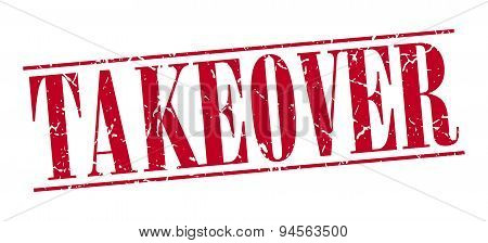 Takeover Red Grunge Vintage Stamp Isolated On White Background