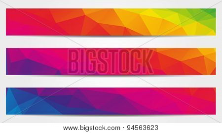 Collection Of 3 Isolated Low Polygonal Rainbow (spectrum) Full Banners