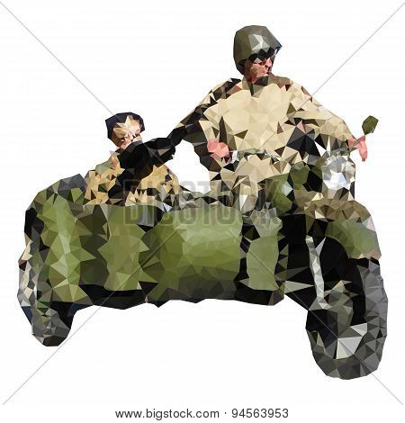Low polygonal soldiers on historical motorcycle