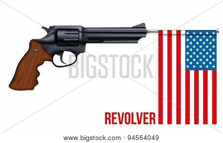 Big Revolver with USA flag
