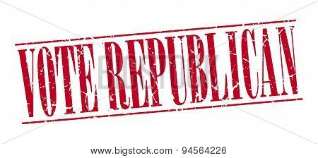 Vote Republican Red Grunge Vintage Stamp Isolated On White Background