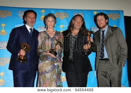 LOS ANGELES - JUN 25:  Andrew Lincoln, Melissa McBride, Gregory Nicotero, Scott Gimple at the 41st Annual Saturn Awards Press Room at the The Castaways on June 25, 2015 in Burbank, CA