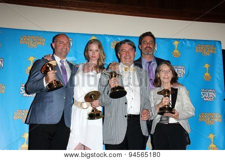 LOS ANGELES - JUN 25:  Rachel Nichols, Victor Webster, Erik Knudson, Tom Rowe, Simon Barry at the 41st Annual Saturn Awards Press Room at the The Castaways on June 25, 2015 in Burbank, CA