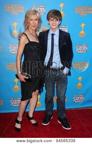 LOS ANGELES - JUN 25:  Lin Shaye, Ty Simpkins at the 41st Annual Saturn Awards Arrivals at the The Castaways on June 25, 2015 in Burbank, CA