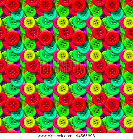 Seamless Pattern With Colorful Sewing Buttons