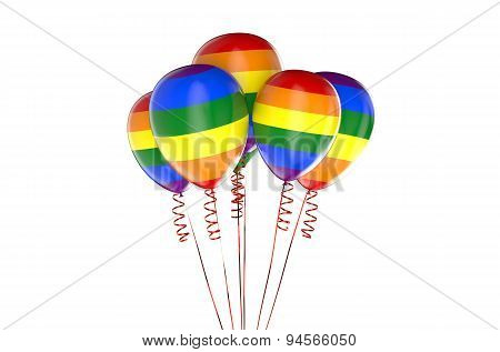 Balloons With Rainbow, Gay Party Concept