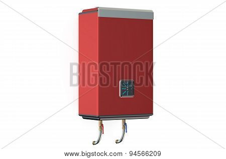 Red Water Heater Or Boiler  Side View