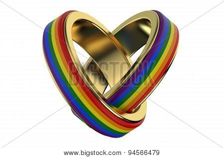 Same-sex Marriages ?oncept With Rainbow Rings