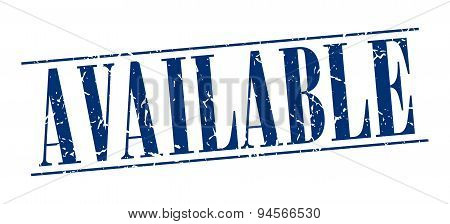 Available Blue Grunge Vintage Stamp Isolated On White Background
