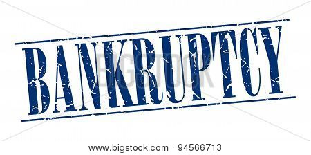 Bankruptcy Blue Grunge Vintage Stamp Isolated On White Background